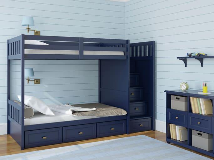 10. Tempat Tidur Anak Bentuk Susun Warna Biru Tua