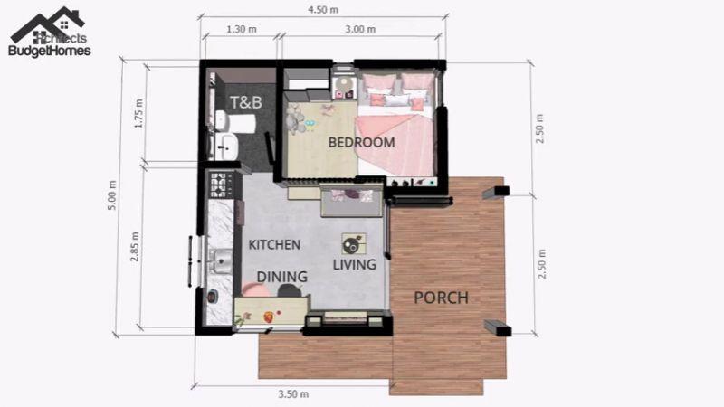 Denah Rumah Kecil Minimalis 4x5 meter