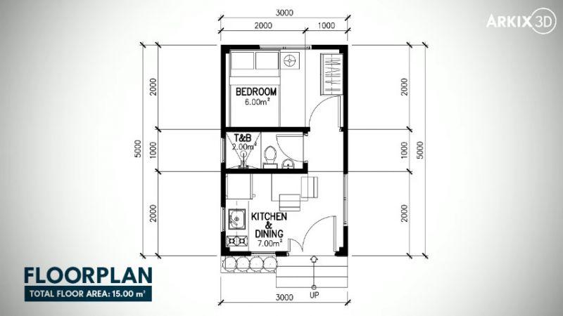 Denah Rumah Mungil Ukuran 3x5 Meter
