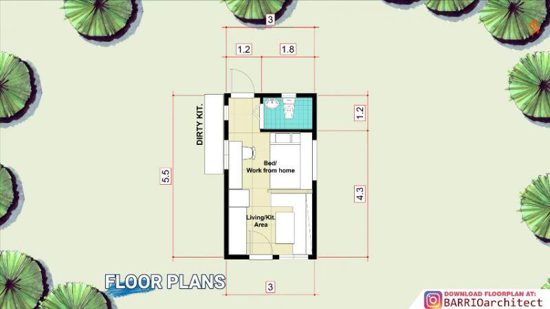 Denah Rumah Mungil Ukuran 3x5,5 Meter