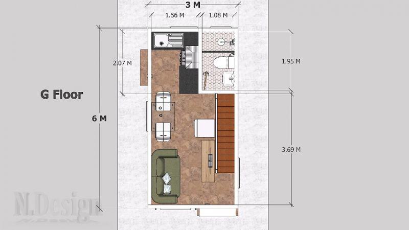 Denah Rumah Kecil Putih 2 Lantai 3x6 Meter (Lantai 1)