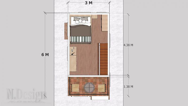 Denah Rumah Kecil Putih 2 Lantai 3x6 Meter (Lantai 2)